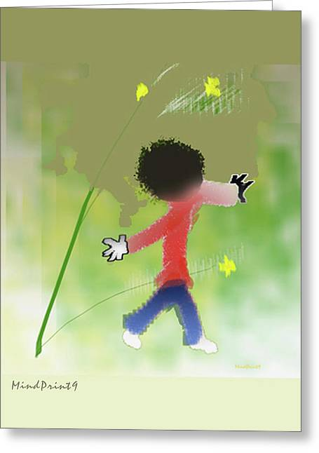 Greeting Card featuring the digital art Child In Nature by Asok Mukhopadhyay