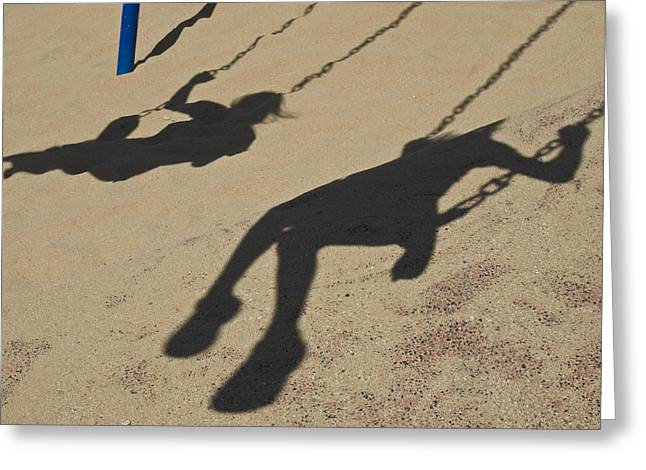 Children Cast Body Shadows In The Sand Greeting Card