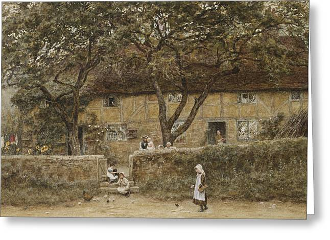 Children Outside A Cottage Greeting Card by Helen Allingham
