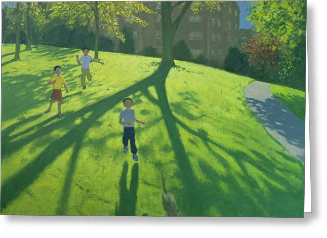 Children Running In The Park Greeting Card by Andrew Macara