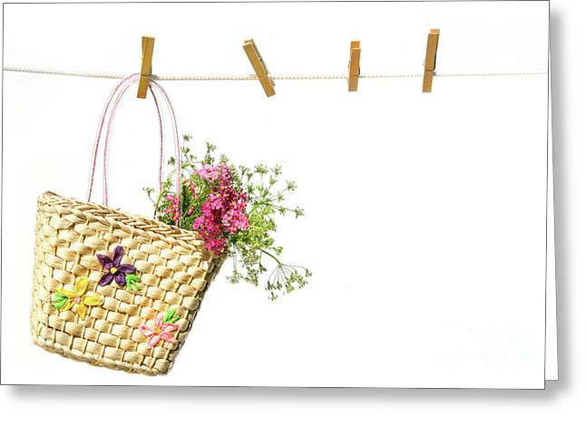 Child's Straw Purse With Flowers Greeting Card by Sandra Cunningham