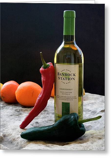 Chilis Wine And Citrus Greeting Card