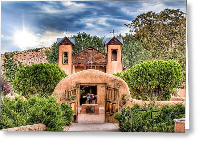 Greeting Card featuring the photograph Chimayo Church by Anna Rumiantseva