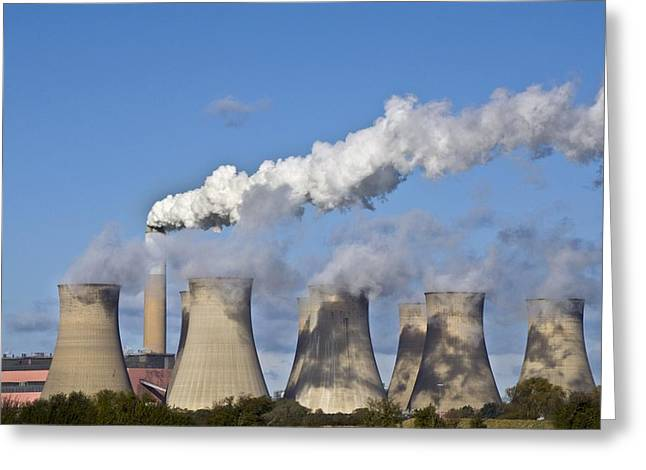 Chimney And Cooling Tower Greeting Card