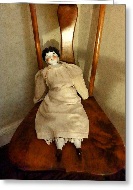 China Doll On Chair Greeting Card