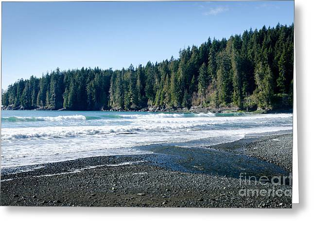 China Surf China Beach Juan De Fuca Provincial Park Bc Canada Greeting Card by Andy Smy