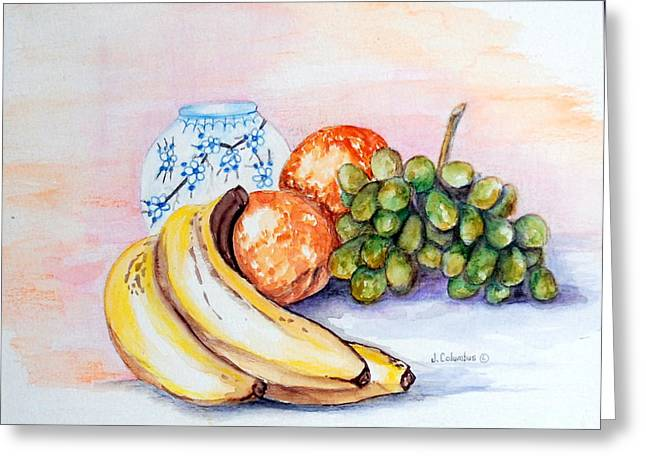 China Vase With Fruit Greeting Card by Janna Columbus