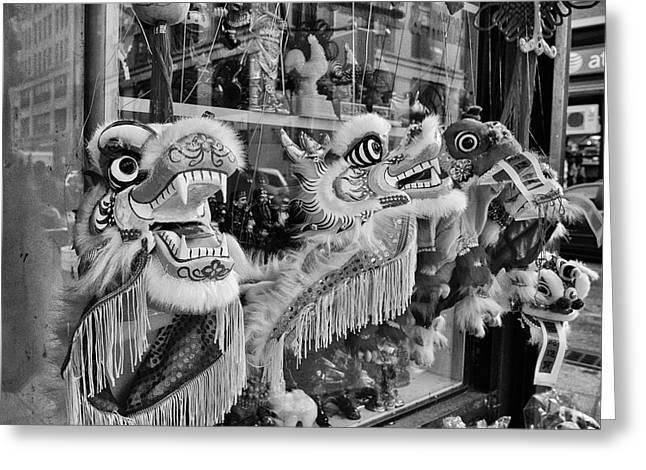 Chinatown Dragons Nyc Greeting Card by John Farnan