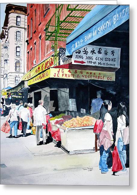 Greeting Card featuring the painting Chinatown Number One by Tom Riggs