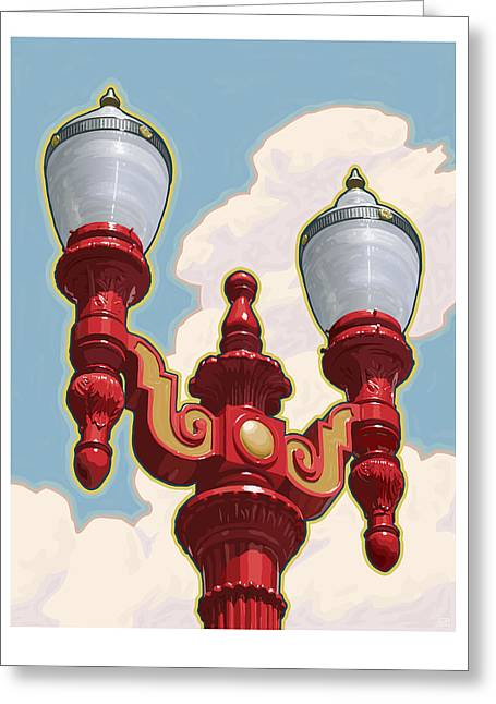 Chinatown Street Light Greeting Card by Mitch Frey