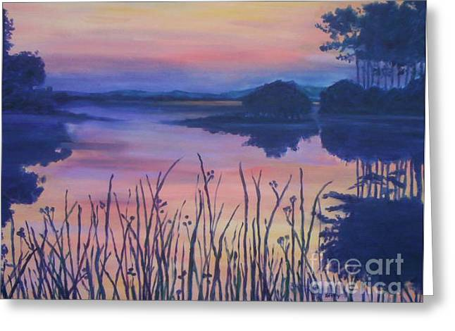Greeting Card featuring the painting Chincoteaque Island Sunset by Julie Brugh Riffey
