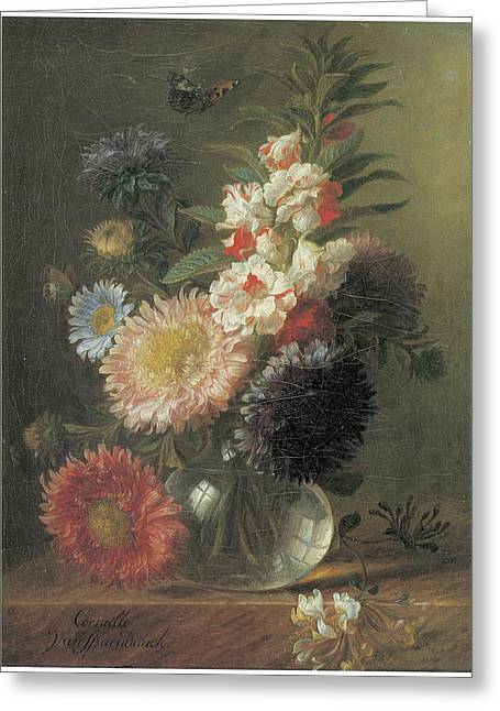 Chinese Aster And Balsam In A Glass Vase Greeting Card by Cornelis Van Spaendonck