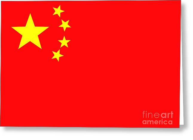 Chinese Flag Greeting Card by Steev Stamford