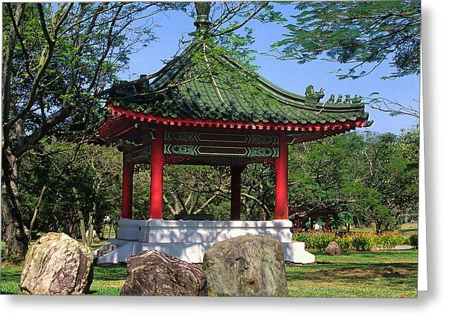Greeting Card featuring the photograph Chinese Gardens Garden Pavilion 21b by Gerry Gantt
