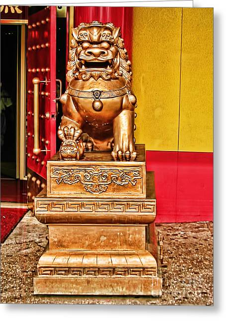 Chinese Lion Dragon-chinatown-nyc Greeting Card by Anne Ferguson