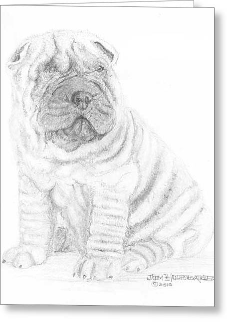 Greeting Card featuring the drawing Chinese Shar-pei by Jim Hubbard