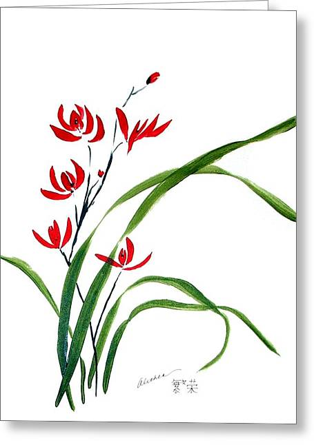 Chinese Wild Orchid 1 Greeting Card by Alethea McKee