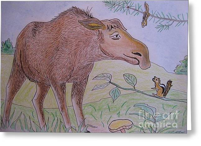 Chipmunks Tease Mildred The Moose Greeting Card