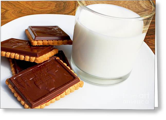 Chocolate Coated Butter Cookies And Milk Greeting Card by Barbara Griffin