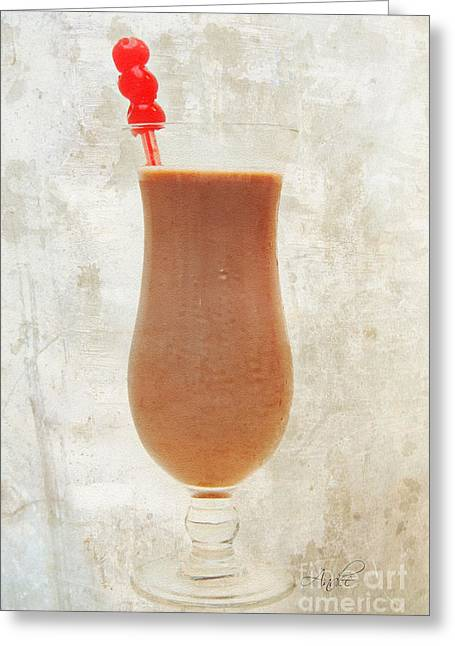 Chocolate Milk With Cherries On Top Greeting Card
