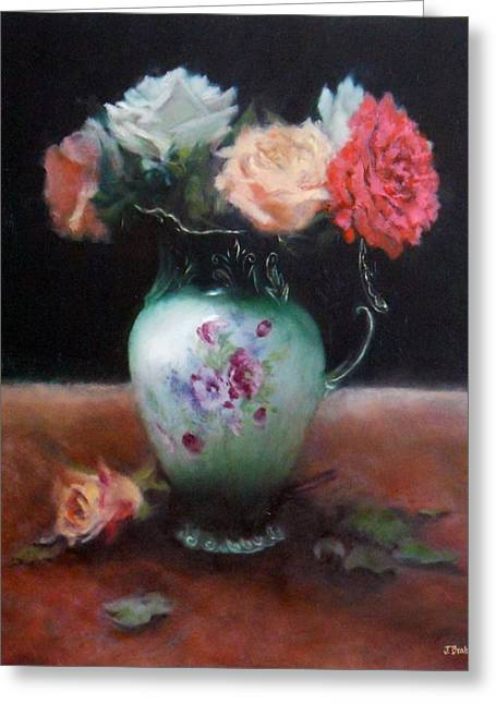Chocolate Pot With Roses Greeting Card by Jill Brabant