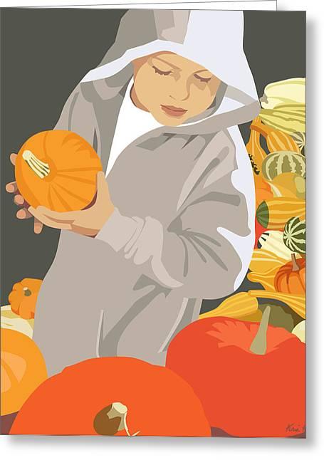 Choosing A Pumpkin Greeting Card