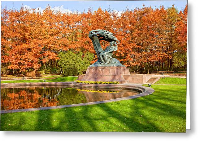 Chopin Monument In The Lazienki Park Greeting Card