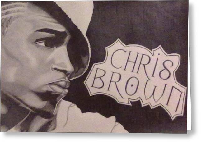Chris Brown Greeting Card by Lakeesha Mitchell