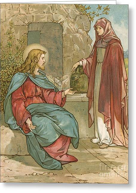 Christ And The Woman Of Samaria Greeting Card by John Lawson