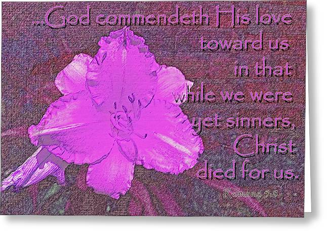 Christ Died For Us Greeting Card by Larry Bishop