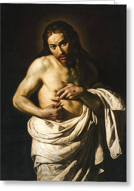 Christ Displaying His Wounds Greeting Card by Giacomo Galli