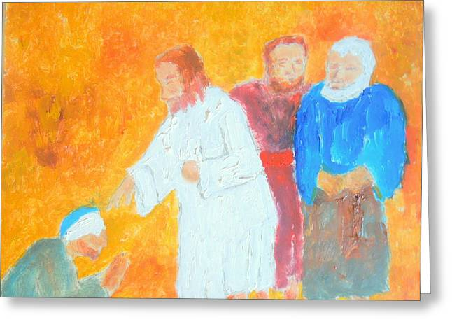 Greeting Card featuring the painting Christ Healing The Blind 1 Honoring The Great Healer by Richard W Linford