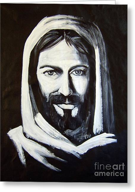 Christ Smiling Greeting Card by Larry Cole