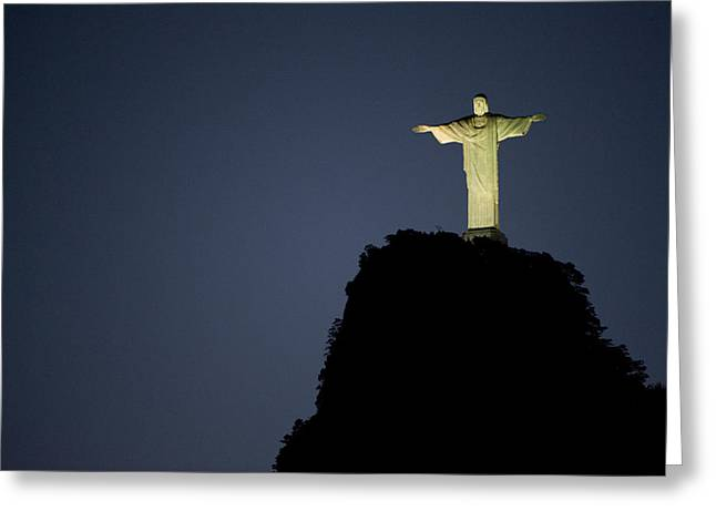 Christ The Redeemer Statue Glows Greeting Card by Joel Sartore