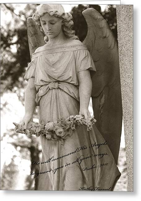 Christian Angel Art - Angel Holding Garland Greeting Card