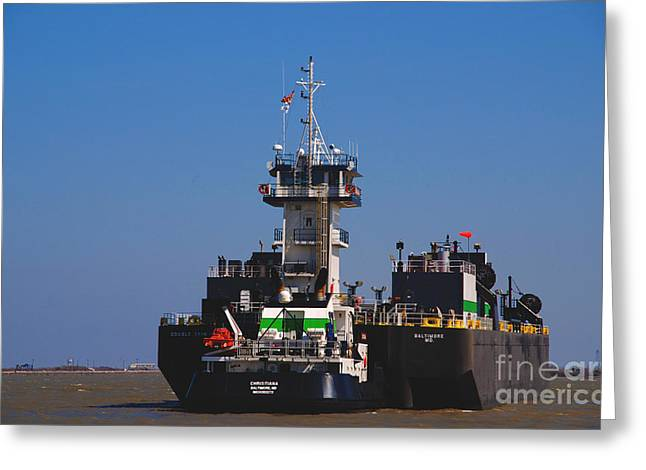 Christiana Oil Tanker Sitting In Galveston Tx Greeting Card by Susanne Van Hulst