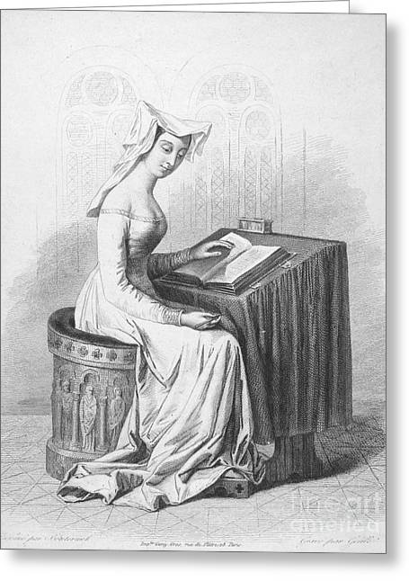 Christine De Pisan Greeting Card by Granger