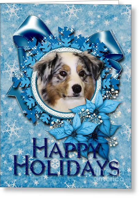 Christmas - Blue Snowflakes Australian Shepherd Greeting Card