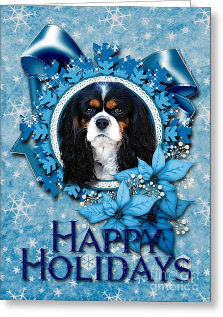 Christmas - Blue Snowflakes Cavalier King Charles Spaniel Greeting Card by Renae Laughner