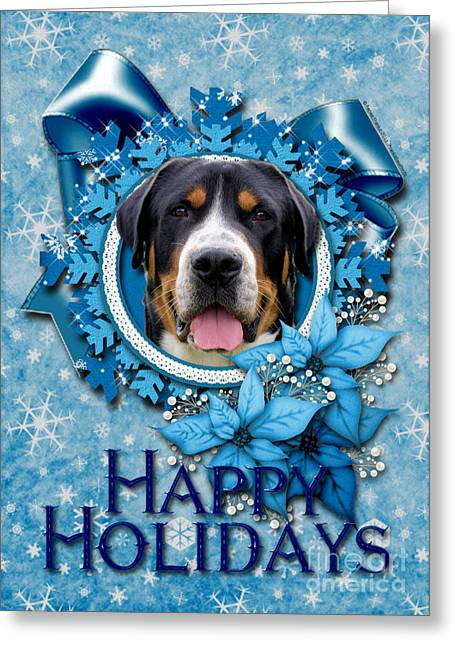 Christmas - Blue Snowflakes Greater Swiss Mountain Dog Greeting Card by Renae Laughner