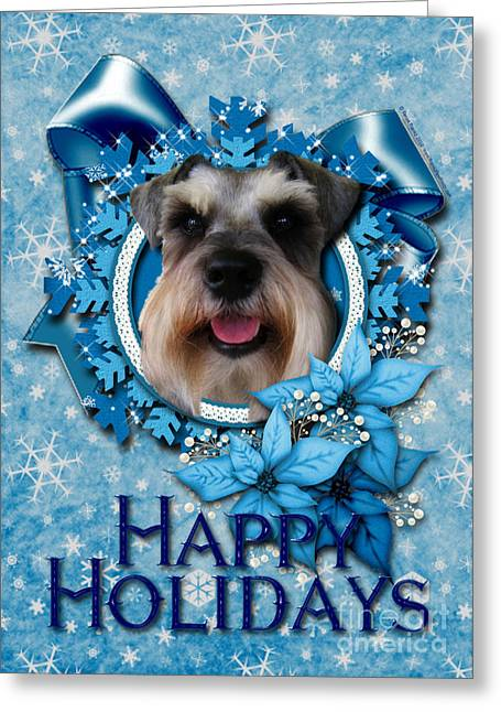 Christmas - Blue Snowflakes Schnauzer Greeting Card by Renae Laughner