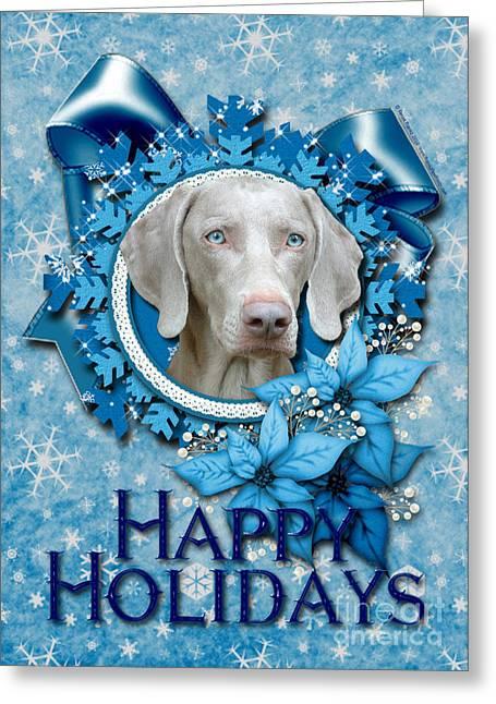 Christmas - Blue Snowflakes Weimeraner Greeting Card