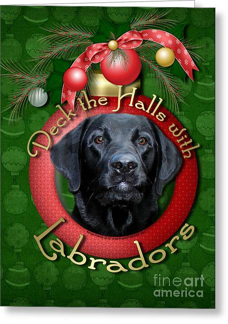 Christmas - Deck The Halls With Labradors Greeting Card by Renae Laughner