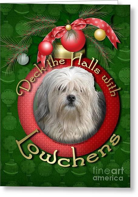Christmas - Deck The Halls With Lowchens Greeting Card by Renae Laughner