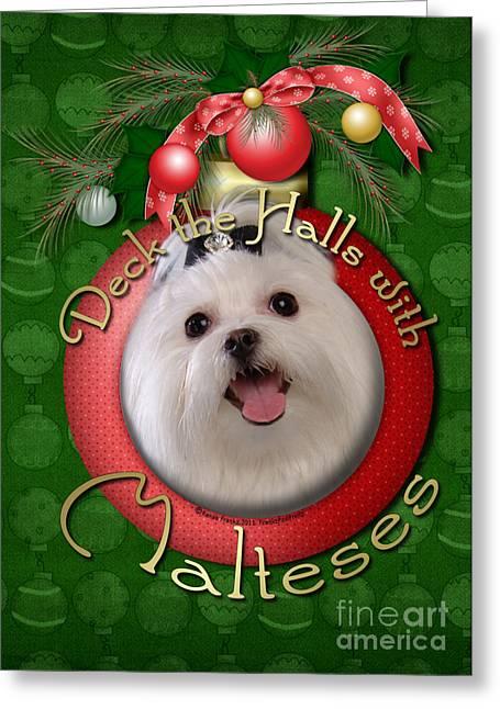 Christmas - Deck The Halls With Malteses Greeting Card