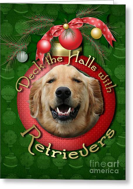 Christmas - Deck The Halls With Retrievers Greeting Card by Renae Laughner