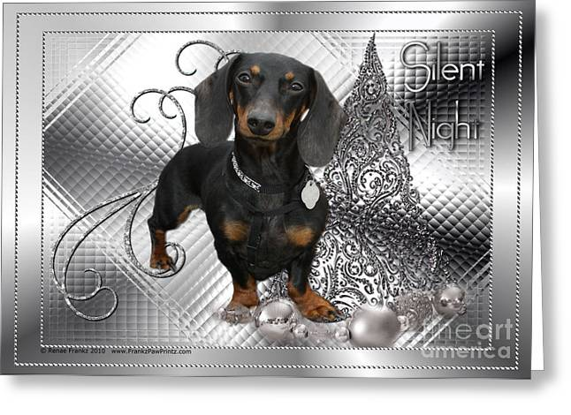 Christmas - Silent Night - Dachshund Greeting Card by Renae Laughner