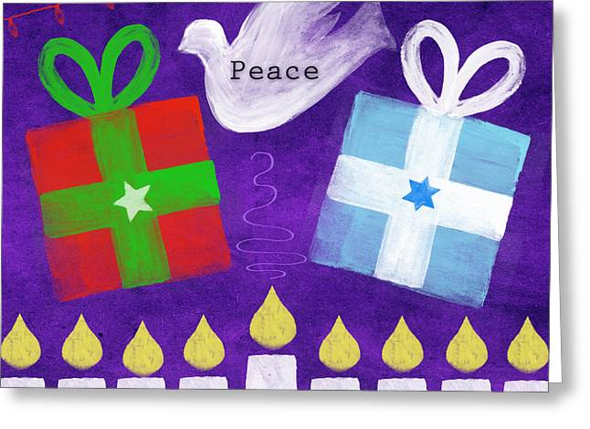 Christmas And Hanukkah Peace Greeting Card by Linda Woods