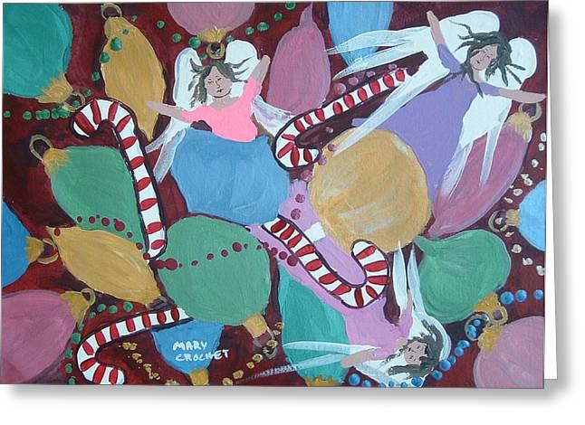 Christmas Bulbs Greeting Card by Mary Crochet