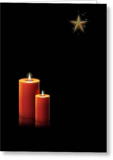 Christmas Candle And Star Greeting Card by Ronel Broderick